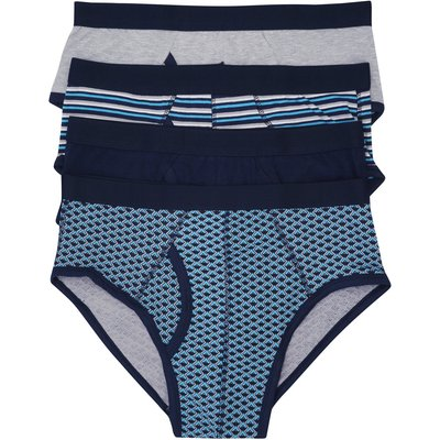 Mens Mixed Blue Plain and Print Briefs 4 pack  - Turquoise