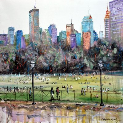 Abstract New York Central park, 28x28 in