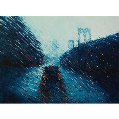 After you - Brooklyn Bridge Rain Street New York Decor Home Office Painting