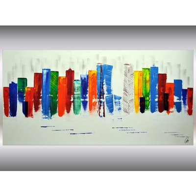 Exciting New York - XXL abstract acrylic painting Skyline painting canvas wall art rainbow colors