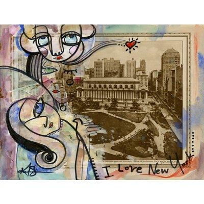 I Love New York 3 - Mixed Media Painting on 1920