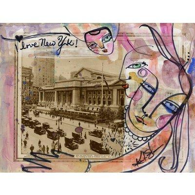 I Love New York 2 - Mixed Media Painting on 1920