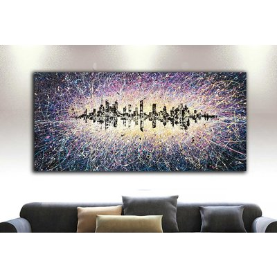 """Energy of New York city Night city lights Abstract townscape Large painting ROLLED 37"""" x 79"""" / 90 x 195 cm."""