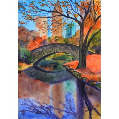 Fall New York Central Park ORIGINAL watercolor painting, autumn forest, romantic gift