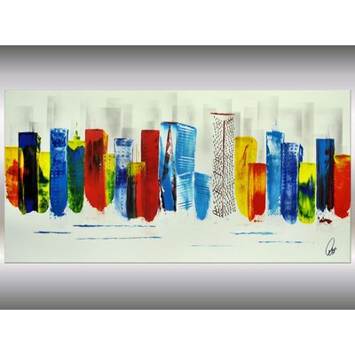 Colored New York - abstract acrylic painting Skyline painting canvas wall art rainbow colors