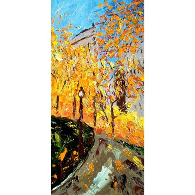 """Central Park Painting Cityscape Original Art Fall NYC Oil Impasto Artwork New York Pallete Knife Wall Art 8 by 16"""" by Halyna Kirichenko"""