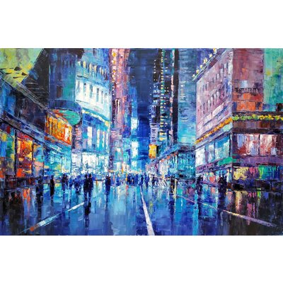 Cityscape - New York, Oil painting, 60x90cm, impressionism, ready to hang, palette knife painting