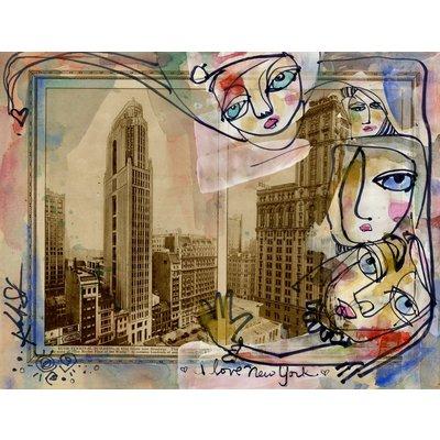 I Love New York - Mixed Media Painting on 1920