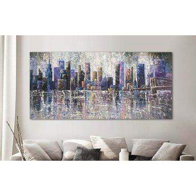"""Brooklyn Bridge and skyscrapers New York view ROLLED 36"""" x 82"""" / 90 x 210 cm"""
