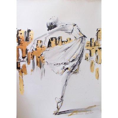 Ballerina in New York - Ballerina Watercolor Painting