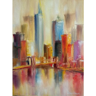 Landscape Cityscape New York Sunny NYC Reflections Sea line Skyscraper Yellow Blue Beige