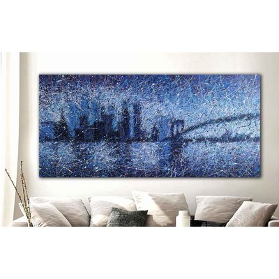 """Brooklyn Bridge and skyscrapers New York view ROLLED 39"""" x 81"""" / 100 x 205 cm"""