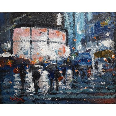 A Rainy Day in New York. City landscape.