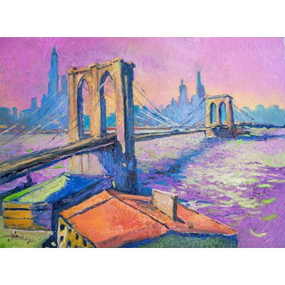 Brooklyn Bridge in New York, Evening in Pink