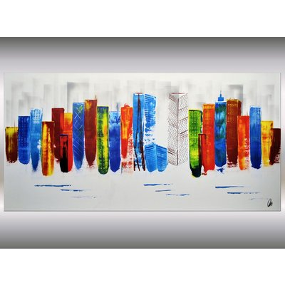 Exciting New York - XXL abstract acrylic painting Skyline painting canvas wall art rainbow colors FREE SHIPPING