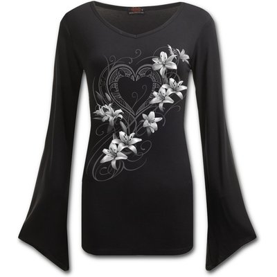 Pure of Heart Women's XX-Large V Neck Goth Sleeve Top - Black