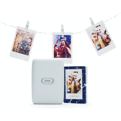 Fujifilm Instax Mini Link Printer Bundle inc LED Lights and Album - Ash White UK Plug