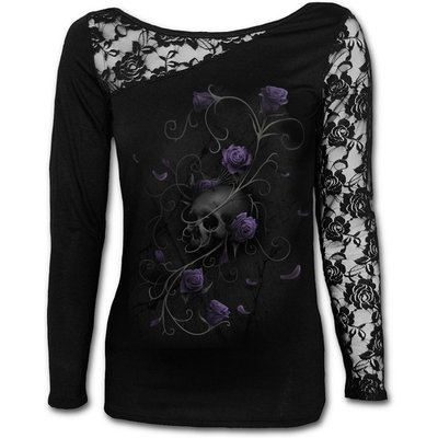 Entwined Skull Women's Medium Lace One Shoulder Top - Black