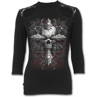 Cross of Darkness Women's Small Lace Shoulder 3/4 Sleeve Top - Black