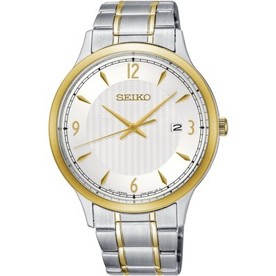Seiko SGEH82P1  Solar Powered Stainless Steel Watch with White Dial
