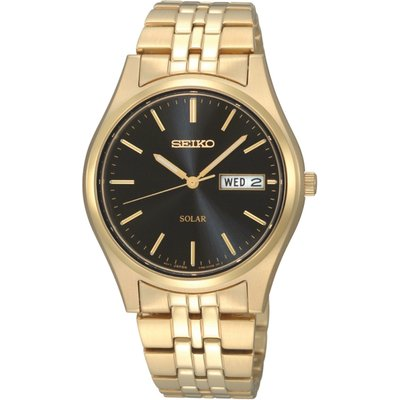 Seiko SNE044P9  Solar Powered Stainless Steel Watch with Black Dial & Gold Bracelet