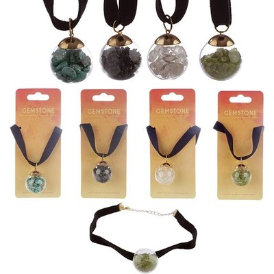 Gemstone & Mineral Chipped Orb (Pack Of 4) Pendant Choker Necklace