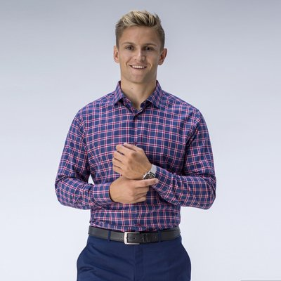 Navy and red checked shirt, Blue