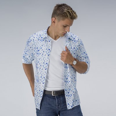 White and blue print shirt