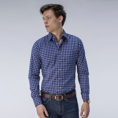 Navy Checked Dress Shirt