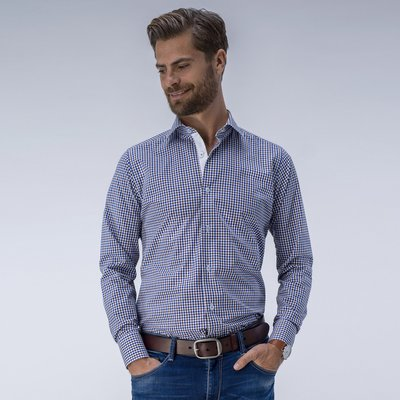 Classic dress shirt with small checkered pattern