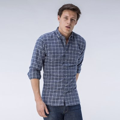 Checked gray flannel shirt