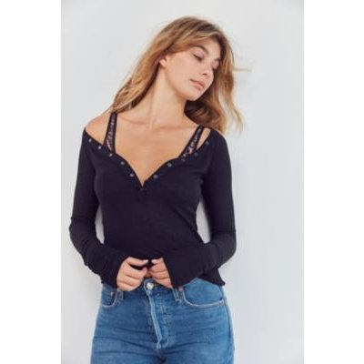 Out From Under Everyday Henley Top, black
