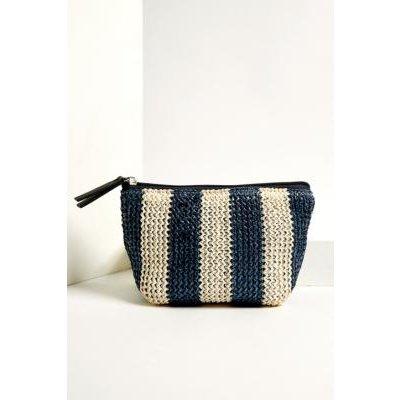 UO Striped Straw Make-Up Bag, Navy