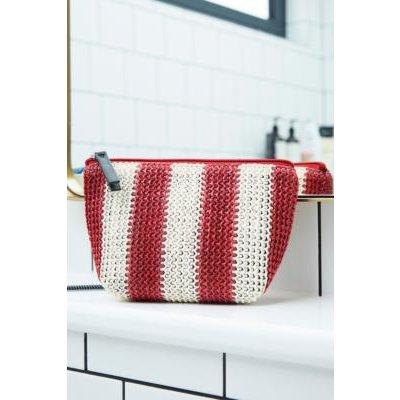 UO Striped Straw Make-Up Bag, Red