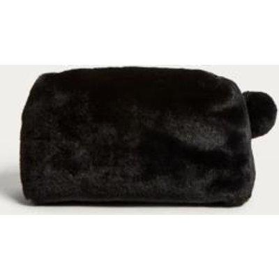 Black Faux Fur Pom Pom Make-Up Bag, Black