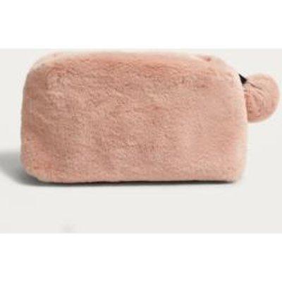 Pink Faux Fur Pom Pom Make-Up Bag, Rose