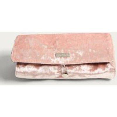 Skinnydip Velvet Make-Up Brush Roll Bag, Rose