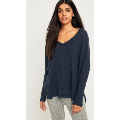 Out From Under Oversized Cosy Thermal V-Neck Top, blue