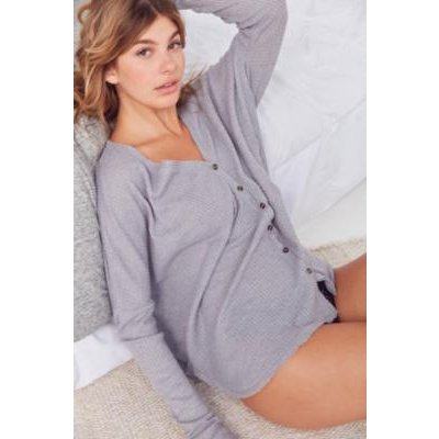Out From Under Jojo Oversized Thermal Button-Front Top, grey