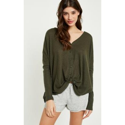 Out From Under Jojo Oversized Thermal Button-Front Top, green