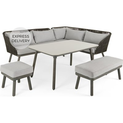Alif Garden Corner Dining Set, Concrete Grey and Grey Eucalyptus