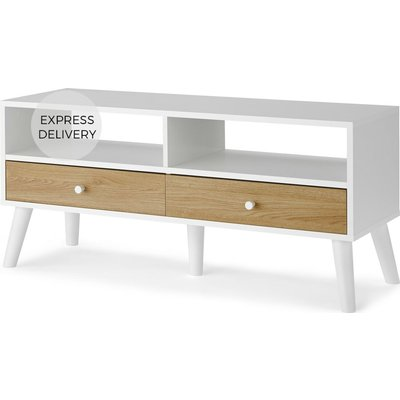 MADE Essentials Larsen Media Unit, Oak Effect & White