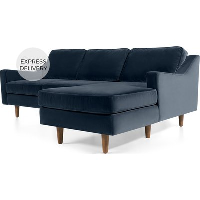 Dallas Right Hand Facing Chaise End Corner Sofa, Navy Cotton Velvet