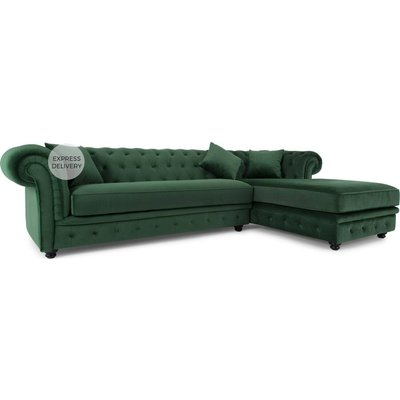 Branagh Right Hand Facing Chaise End  Corner Sofa, Pine Green Velvet
