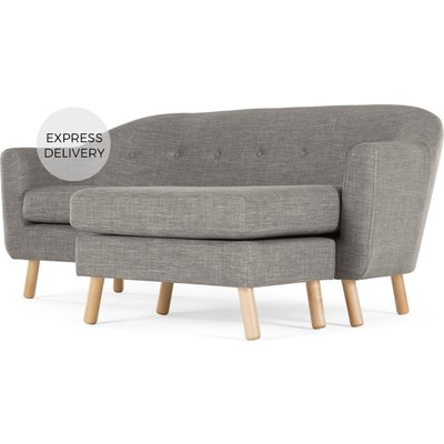 Lottie Compact Chaise End Sofa, Chalk Grey