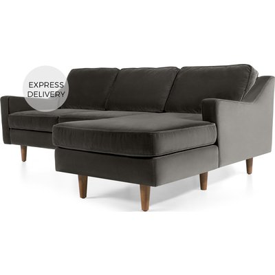 Dallas Right Hand Facing Chaise End Corner Sofa, Concrete Cotton Velvet