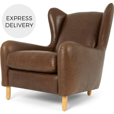 Rubens Wing Back Armchair, Cuba Brown Leather