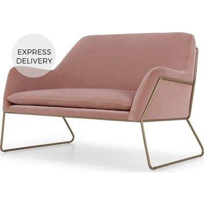 Frame Loveseat, Velvet Blush Pink & Brass