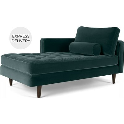 Scott Left Hand Facing Chaise Longue, Cotton Velvet Petrol