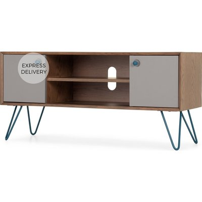 Dotty Wide TV Stand, Dark Stain Oak and Grey